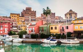 Картинка пальма, дома, яхты, лодки, причал, Испания, Alboraya, Port Saplaya