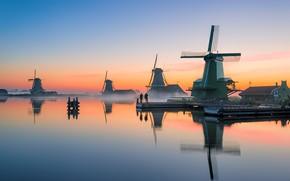 Картинка закат, вечер, канал, мельницы, Нидерланды, Голландия, Zaanse Schans