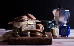 Картинка кофе, печенье, чашка, крем, десерт, выпечка, coffee cup, cookies, macaron, almond, макаруны