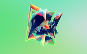 Картинка кристалл, оранжевый, зеленый, фон, розовый, темный, фигура