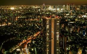 Обои огни, панорама, мегаполис, ночь, город
