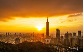Картинка солнце, город, рассвет, панорама