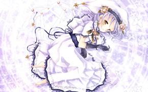 Картинка аниме, арт, девочка, белое платье, Pixiv-tan