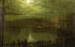 Обои гавань, облака, ночь, Джон Эткинсон Гримшоу, городской пейзаж, мачта, Вид Уитби, люди, Луна, John Atkinson ...