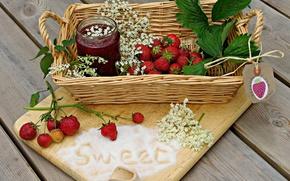 Обои листья, клубника, варенье, ягода, вкусно