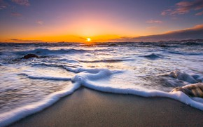 Картинка закат, морская пена, New Zeland, берег океана, Paekakariki