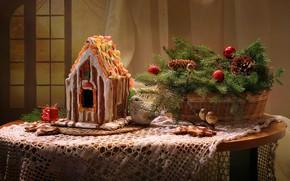 Картинка украшения, праздник, новый год, пряничный дом, ветки ели