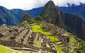 Картинка Горы, Панорама, Руины, Mountains, Южная Америка, Peru, Перу, Мачу-Пикчу, Panorama, Machu Picchu, Ruins, Древний город