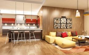 Картинка диван, графика, подушки, кухня, Design, гостиная, Interior, Kitchen