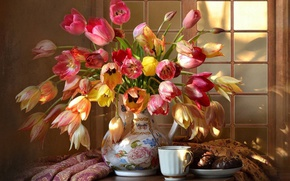 Картинка чашка, кувшин, тульпаны, зефир в шоколаде