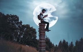 Картинка луна, книги, чтение, Vincent Bourilhon, The night storyteller