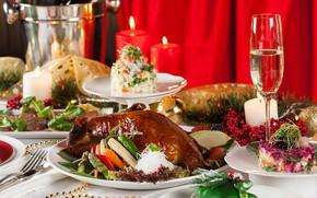 Картинка бокал, свечи, овощи, утка, застолье, салат, ассорти
