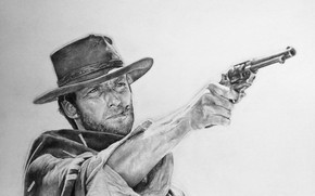 Картинка рисунок, револьвер, вестерн, Clint Eastwood, Клинт Иствуд