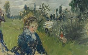 Картинка картина, Claude Monet, Клод Моне, жанровая, На Лугу. Ветёй