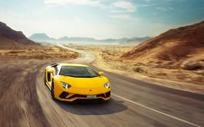 Обои Lamborghini, Speed, Yellow, Supercar, Aventador S