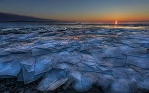 Картинка солнце, берег, лёд, горизонт