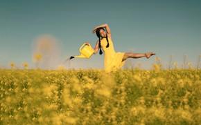 Картинка поле, лето, девушка, рапс