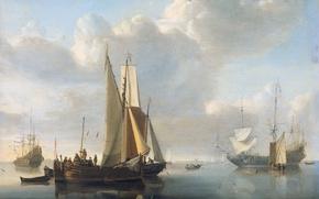 Обои Корабли у Берега, парус, Виллем ван де Велде Младший, масло, дерево, картина, море