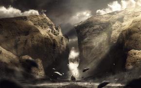 Картинка небо, облака, горы, камни, ущелье, путник, black water