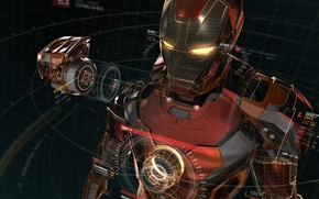 Обои Iron Man, artwork, vector, digital art, superhero, Marvel Comics, fantasy art, comic, vector art, fractal, ...