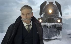 Картинка cinema, blizzard, snow, man, movie, train, film, suit, mustache, tie, Kenneth Branagh, Murder on the …
