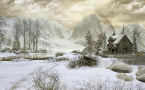 Картинка зима, деревья, горы, домик