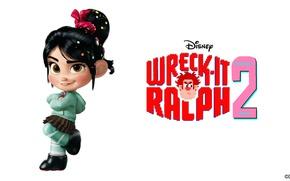Обои мультфильм, белый фон, персонаж, Walt Disney, Уолт Дисней, Ральф, Vanellope, Ralph, Wreck-It Ralph 2