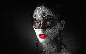 Обои карнавал, лицо, маска, помада, губы, стиль