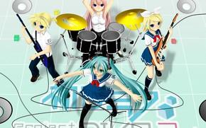 Картинка музыка, аниме, арт, барабаны, Vocaloid, Вокалоид, персонажи
