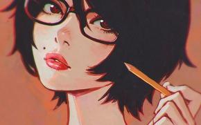 Картинка девушка, лицо, брюнетка, очки, карандаш, родинка