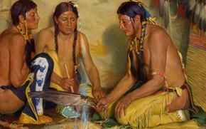 Обои Joseph Henry Sharp, Grass Medicine, Making Sweet, Blackfoot Ceremony