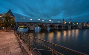 Картинка ночь, мост, Нидерланды, Maastricht, огни, Голландия