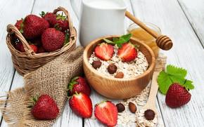 Картинка ягоды, завтрак, молоко, клубника, мед, орехи, honey, миндаль, хлопья, фундук, nuts, strawberry, berries, breakfast, milk, …