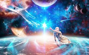 Обои земля, feelings, рука, квазар, душа, soul, girl, девушка, planets, hand, помощь, космос, звезды, help, stars, ...