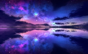 Обои облака, звезды, отражение, небо, ночь