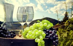 Обои поля, бочка, вино, боке, бокалы, облака, холмы, солнце, небо, виноград, пейзаж