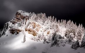 Картинка зима, ночь, гора
