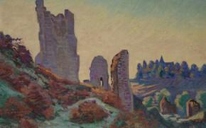 Картинка пейзаж, картина, Арман Гийомен, Armand Guillaumin, Руины Замка в Крозане