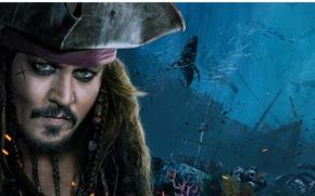 Обои cinema, film, kaizoku, captain, Dead Men Tell No Tales, sea, hat, Pirates of The Caribbean: ...