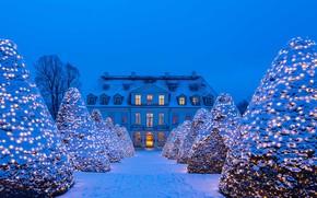 Картинка зима, снег, огни, Германия, Рождество, украшение, Саксония, Нижний Лёсниц, Замок Вакербарт, Радебойль