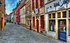 Картинка улица, здания, HDR, Бельгия, street, houses, Belgium, Гент