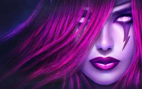 Картинка девушка, лицо, League of Legends, лол, Morgana, Fallen Angel
