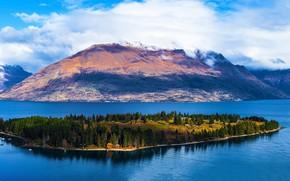 Картинка облака, горы, озеро, остров, Новая Зеландия, Queenstown, Lake Wakatipu