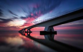 Картинка небо, вода, облака, отражения, мост, выдержка