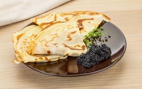 Картинка тарелка, блины, икра, выпечка, caviar, pancake, seafoods