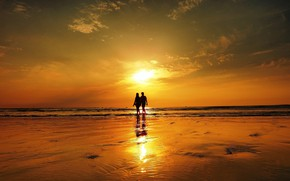 Картинка море, небо, закат, пара