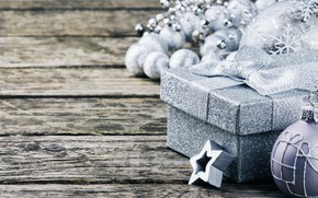 Картинка украшения, Новый Год, Рождество, подарки, silver, happy, Christmas, wood, New Year, Merry Christmas, Xmas, gift, …