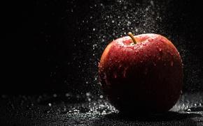 Обои капли, фрукты, вода, яблоко