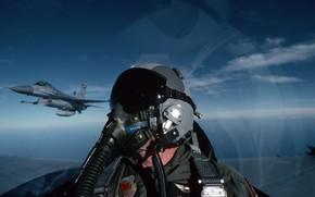 Картинка небо, авиация, самолет, пилот, F-16