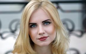 Картинка взгляд, крупный план, лицо, фон, модель, портрет, макияж, прическа, блондинка, красотка, Dasha, боке, Даша, Murat ...